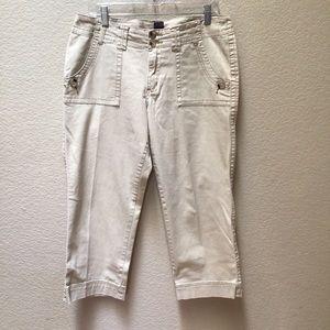 JAG Capri Pants Cropped Khaki Beige Classic Fit
